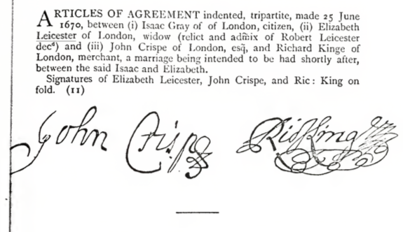 1670 Articles of Agreement Elizabeth Leicester and Isaac Grey