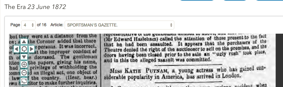1872 Katie Putnam arrival in London
