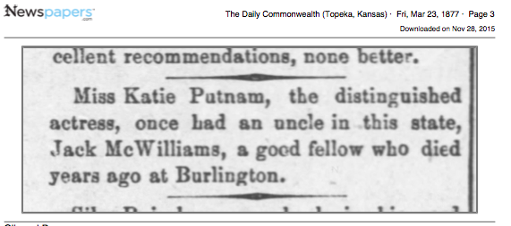 1877 Jack McWilliams Katie Putnam mention - burlington, ks