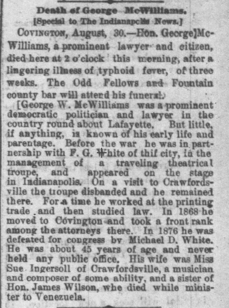 1879 Indianapolis News, 30 August 1879 George Mcwilliams