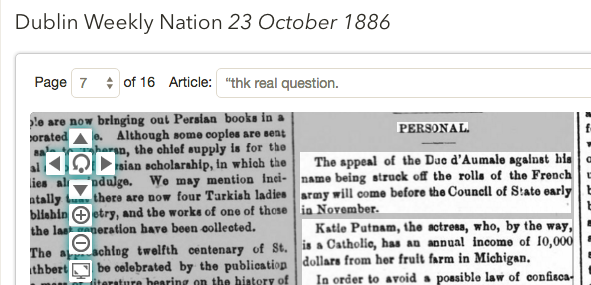 1886 irish article says Putnam is a catholic