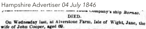 1846-Incorrect-Ann-Cooper-death-newspaper-announcement-(not-Jane)
