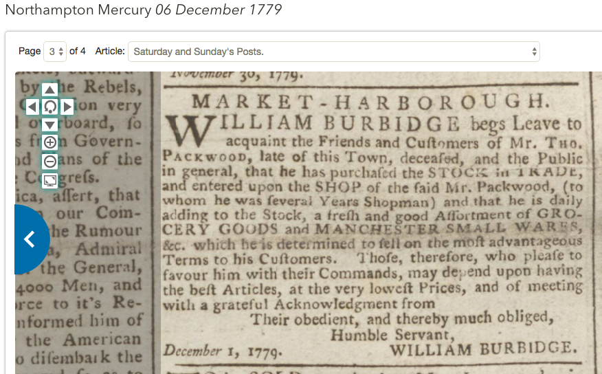 1779 Williams Burbidge Grocer Market harborough