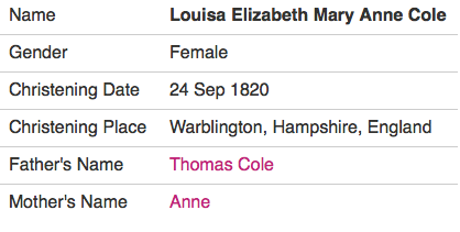 1820 Louisa Cole Baptism